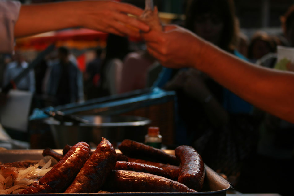 Selling Borough Market sausages